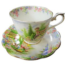 CHARMING 1930s Teacup and Saucer KENTISH ROCKERY by Royal Albert English Bone China, Collectible Cups and Saucers