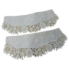 BEAUTIFUL Victorian Edwardian Cuffs,Embroidered Linen and Lace Cuffs, Doll Lace,Wear Them or Frame Them, Collectible Lace Textiles