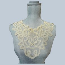 LOVELY Victorian French Lace Collar,Hand Made Creamy Ivory Color Lace,Victorian Edwardian Lace,Antique Bridal Lace,Collectible Lace
