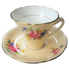 CHARMING Teacup and Saucer Royal Grafton English Bone China, Art Deco Teacup,PINK  Yellow Blue Flowers,Vintage Cup and Saucer,Tea Time China, Collectible Teacups