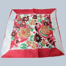 BEAUTIFUL Vintage 1930s Printed Floral Hanky Colorful Flowers Handkerchief To Frame Collectible Hankies,1930s Hankies, 1930s Hanky, 1930s Handkerchiefs, Mid Century Hankies