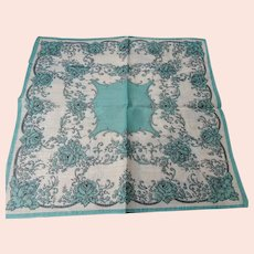 LOVELY Vintage Printed Turquoise Blue Roses Hanky,Colorful Handkerchief To Frame,Collectible Hankies,1950s Hankies, 1950s Hanky, 1950s Handkerchiefs, Mid Century Hankies