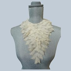 ANTIQUE 1930s French Netted Lace Collar, Multi Layered,Downton Abbey Great Gatsby Flapper Bridal Lace,Collectible Lace