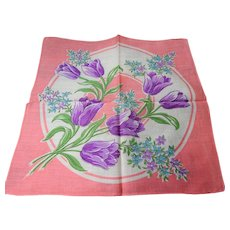 COLORFUL Vintage Printed Floral Hanky,Purple Tulips Flowers,Handkerchief To Frame Collectible Hankies,1950s Hankies, 1950s Hanky, 1950s Handkerchiefs, Mid Century Hankies