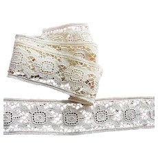 Antique BEAUTIFUL Lace Cotton Floral Trim,Intricate Pattern,For Dolls,Christening Gowns,Bridal,Heirloom Sewing,Collectible Lace,Textiles