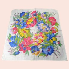 BEAUTIFUL Vintage 1930s Printed Floral Hanky, Colorful Flowers Handkerchief To Frame, Collectible Hankies,1930s Hankies, 1930s Hanky, 1930s Handkerchiefs, Mid Century Hankies