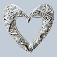 ART DECO Filigree Heart Brooch Pin,Vintage Silver Tone Heart Brooch Pin,Glittering Glass White Rhinestones Crystals, Signed Coro,Collectible Costume Jewelry