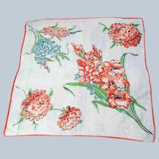50s Lovely VINTAGE Printed Floral Hanky,Pretty Flowers Handkerchief,Great To Frame,Collectible Hankies,Colorful Vintage Hankies,Mid Century