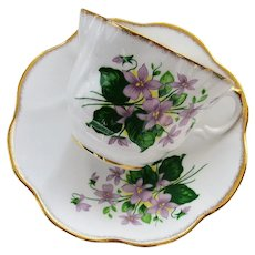 VINTAGE Rosina English Bone China Teacup and Saucer Sweet Violets Pattern,Pretty Pink Purple Flowers,Lavish Gold Trim,Pedestal Cup n Saucer