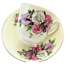 VINTAGE Duchess English Bone China Teacup and Saucer Sweet Peas Pattern,Pretty Pink Purple Flowers,Lavish Gold Trim, Pedestal Cup and Saucer