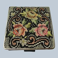 BEAUTIFUL Vintage Powder Compact Mirror, Petit Point Tapestry Powder Purse Compact,US Zone Germany,Collectible Vintage Powder Compacts