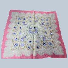 50s VINTAGE Printed Floral Hanky,Colorful Purple Pink Yellow Flowers Hankie,Handkerchief To Frame,Collectible Vintage Hankies