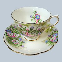 VINTAGE Royal Albert English Bone China Teacup and Saucer, Fringed Gentian Pattern,Colorful Flowers,Lavish Gold Trim, Pedestal Cup and Saucer,Collectible Teacups