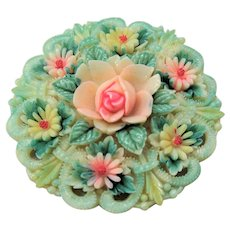BEAUTIFUL Vintage Japanese Celluloid Flowers Floral Brooch, 1930s Hand Painted Pin, Collectible Vintage Jewelry
