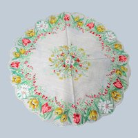 BEAUTIFUL 1950s Vintage Round Hanky, Colorful Floral Handkerchief,Collectible Hankies,Shabby Chic,Hankies To Collect