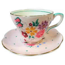 BEAUTIFUL Vintage Teacup and Saucer,EB Foley English Bone China, Hand Painted Art Deco Cup and Saucer, Pink,Polka Dots and Flowers Teacup, Collectible Teacups