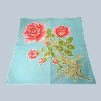 BEAUTIFUL Vintage Printed Floral Hanky,Pink Roses,Handkerchief To Frame,Collectible Hankies,1950s Hankies, 1950s Hanky, 1950s Handkerchiefs, Mid Century Hankies