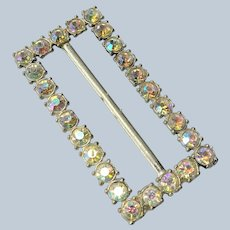 BEAUTIFUL Vintage Flapper Style  Large Buckle, Glittering AB  Rhinestones, Rectangle Slide Buckle, Wedding, Shawl Buckle, Collectible Dress Buckles