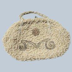 BEAUTIFUL Antique Purse,Belgium Made, Micro Beads Hand Made Handbag, Beaded Bag,Striking Design,Wedding or Evening Bag,Collectible Purses