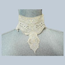 GORGEOUS Victorian French High Neck Collar, Victorian Edwardian Lace, Heirloom Sewing,Collectible Vintage Clothing ,Collectible Lace Collars