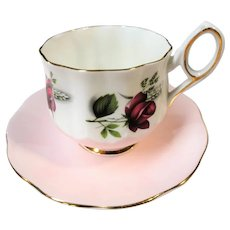 LOVELY Vintage Teacup and Saucer, Pink English Cup and Saucer Roses,Unique Design,Vintage Cup and Saucer,Tea Time China, Collectible Teacups