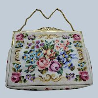 LOVELY Antique Silk Needlework Purse, Colorful Roses and Flowers Handbag,Beautiful Gilt Frame,Chateau Decor ,Collectible Purses