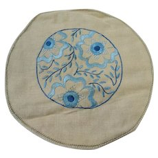 AMAZING Arts and Crafts Doily,Exceptional Hand Embroidery Work, Silk Thread on Natural Linen Blue Floral Design, Collectible Textiles