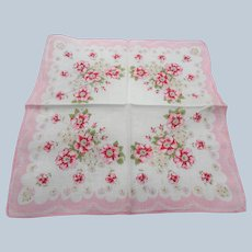 50s VINTAGE Printed Floral Hanky,PINK Roses Hankie,Handkerchief To Frame,Collectible Hankies,Hankies To Collect