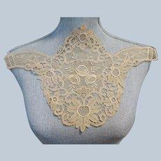 GORGEOUS Antique Lace Large Applique,Mixed Lace, Perfect For Dress,Blouse or Vintage Clothing Repair, Collectible Vintage Lace