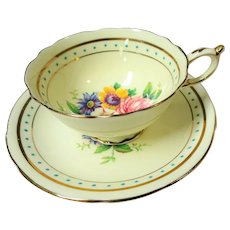 GORGEOUS Vintage Paragon Teacup and Saucer, Double Warrant Stamp, Lovely Flowers, Turquoise Blue Enamel,Footed Cabinet Cup and Saucer,Collectible English Teacups
