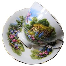 SWEET Royal Vale English Bone China Teacup and Saucer,English Thatched Cottage,Rich Colors,Pedestal Cup,Collectible Vintage Teacups