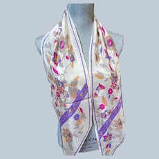 LOVELY Vintage 70s Silk Scarf, Long Silk Scarf,Made in Japan, Oriental Floral Pattern,Signed SACHA,Vintage Collectible Designer Scarves
