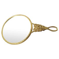 LOVELY Vintage Purse Hand Mirror,Filigree Design ,Purse Size,Vanity Mirror,Small Vintage Mirror,Doll Prop,Mid Century Mirror,Collectible