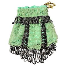 DRAMATIC 1920s Beaded Flapper Purse,Art Deco Glittering Glass Green and Black Draped Beads Reticule,Beautiful Design,Collectible Antique Purses