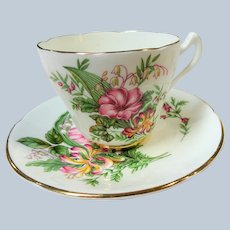 CHARMING Teacup and Saucer Consort English Bone China,PINK Flowers,Vintage Cup and Saucer,Tea Time China, Collectible Teacups