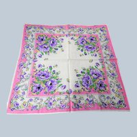 BEAUTIFUL Vintage Printed Floral Hanky,Purple Flowers,Handkerchief To Frame,Collectible Hankies,1950s Hankies, 1950s Hanky, 1950s Handkerchiefs, Mid Century Hankies