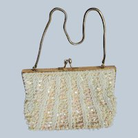 BEAUTIFUL Vintage Goldco Evening Purse or Bridal Bag, Beaded Sequinned HandBag, Collectible Purses