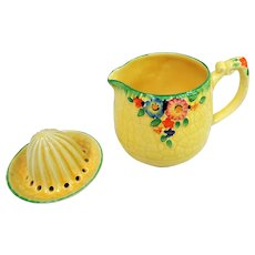 CHARMING 1930's Art Deco, Large Jug and Reamer,Floral Tableware, Kitchenalia, Garden Path Pattern,Colorful and Hand painted,Collectible Crown Devon