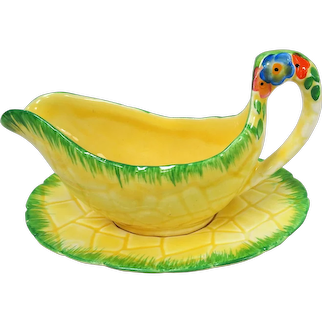 CHARMING 1930's Art Deco,Sauce Boat and Underplate,Floral Tableware, Kitchenalia, Garden Path Pattern,Colorful and Hand painted,Collectible Crown Devon