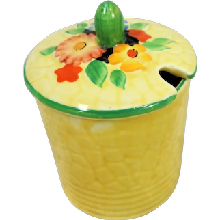 CHARMING 1930's Art Deco,Lidded Jam Jar,Floral Tableware, Cottage Ware, Garden Path Pattern,Colorful and Hand painted,Collectible Crown Devon