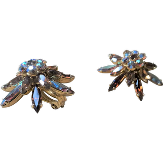SPARKLING Sherman Signed Vintage 50s Glass Earrings,GLITTERING Topaz and Aurora Borealis,Rhinestone Star Burst Design Clip Ons,Collectible Mid Century Jewelry
