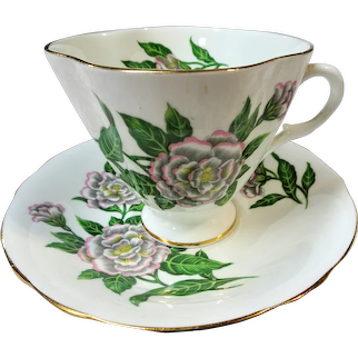 CHARMING Teacup and Saucer Clarence English Bone China,PINK Flowers,Vintage Cup and Saucer,Tea Time China, Collectible Teacups