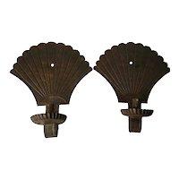 19th Century Pair Tin Fan Scones