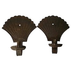 19th Century Pair Tin Fan Scones