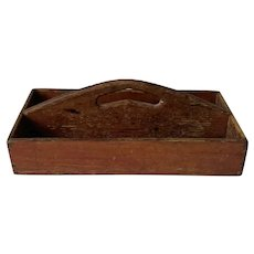 19th c American Red Knife Box
