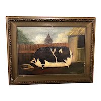 English Oil Painting Well Fed Pig