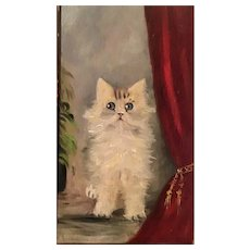 20th Century Kitten Painting in Oil