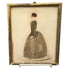 19th Century Watercolor Portrait of Lady