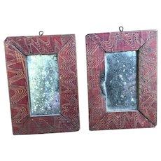 19th Century Pair of Miniature Mirrors
