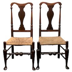 Mid 18th c Pair of Queen Anne Side Chairs